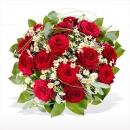 Rosas en centro Rojo Pasión