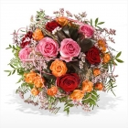 Centro redondo de rosas multicolor