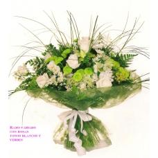 Ramo Tonos Verdes y Blancos con Rosas