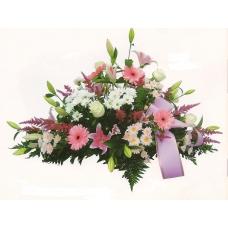 Centro Funeral rosa y blanco